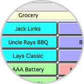 Point-of-sale screen with up to 9 palettes of 36 preset items.
