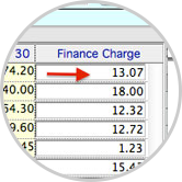 Calculate finance charges in batch based on past due amounts.